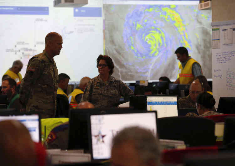Au centre de commande d'urgence du Texas, le 26 août.