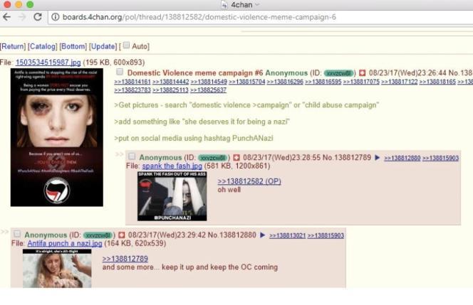 Le message d'origine posté sur le forum 4chan, donnant les instructions pour lancer la fausse campagne.