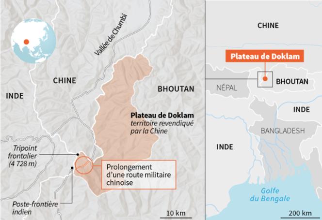Une frontière du plateau montagneux de Doklam, perché dans l'Himalaya, fait l'objet de tensions entre la Chine et l'Inde.