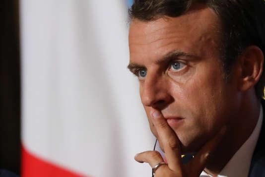 Le président Emmanuel Macron, au palais de l'Elysée, le 28 août.