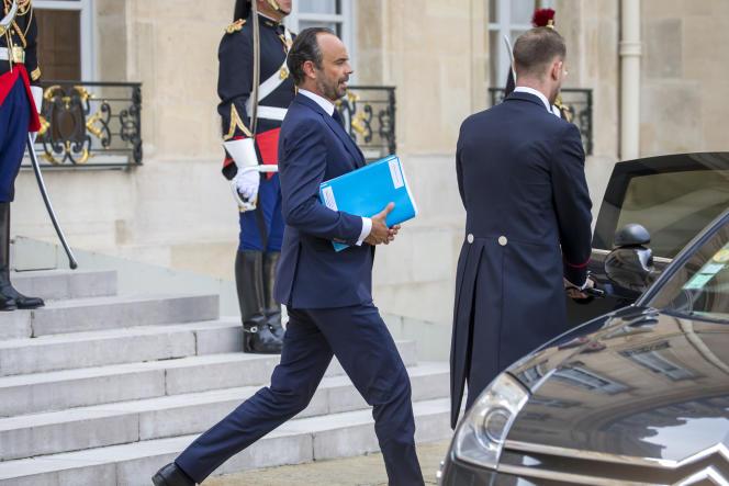 Edouard Philippe, premier ministre, sort du séminaire gouvernemental de rentrée au Palais de l'Elysée à Paris, lundi 28 août 2017.