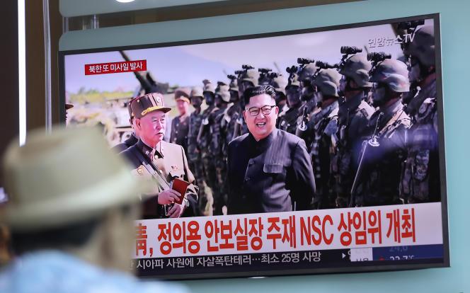 A Séoul, le 26 août, la télévision sud-coréenne montre le dirigeant nord-coréen Kim Jong-un.