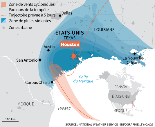 Progression de la tempête Harvey.