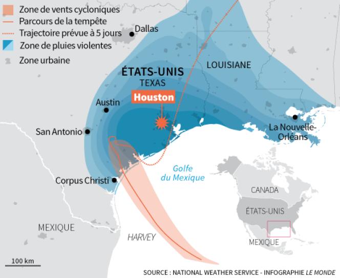 Progression de la tempête Harvey.