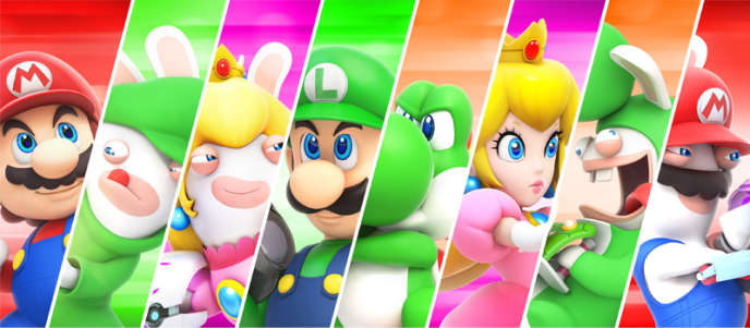 Héros du jeu vidéo «Mario+The lapins crétins », crossover entre les univers de Nintendo et d'Ubisoft.