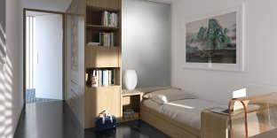 La chambre d'étudiant avec sa salle de bains à la Fondation de Chine.