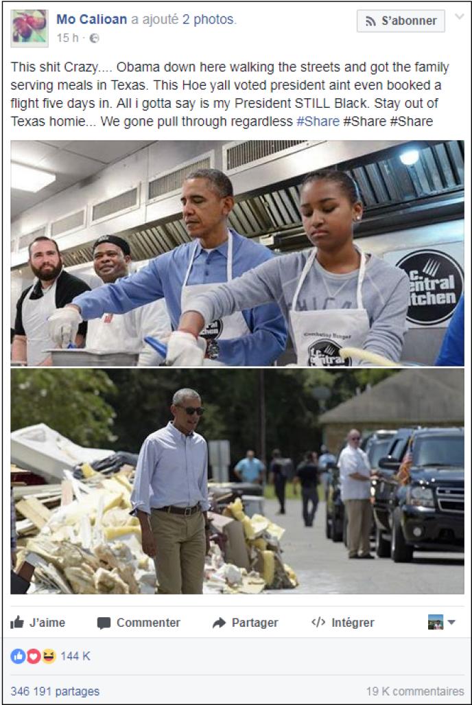 Cet internaute affirme sur Facebook, photos à l'appui,que Barack Obama serait venu en aide aux sinitrés. Ces images ont en réalité été sorties de leur contexte.