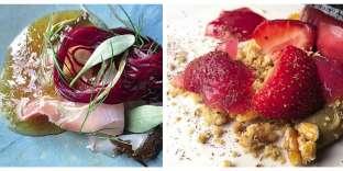 Une dorade crue avec betterave, agrumes et quinoa, et un crumble de fraises.