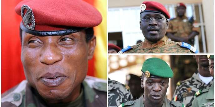 Le Guinéen Moussa Dadis Camara (à gauche), le Burkinabé Isaac Zida (en haut) et le Malien Amadou Haya Sanogo (en bas).