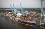 Un porte-conteneur CMA CGM, à Norfolk (Virginie), le 28 août.