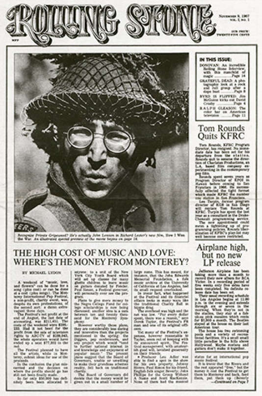 La première «une» de «Rolling Stone», le 9 novembre 1967, avec John Lennon dans le film de Richard Lester,«Comment j'ai gagné la guerre».