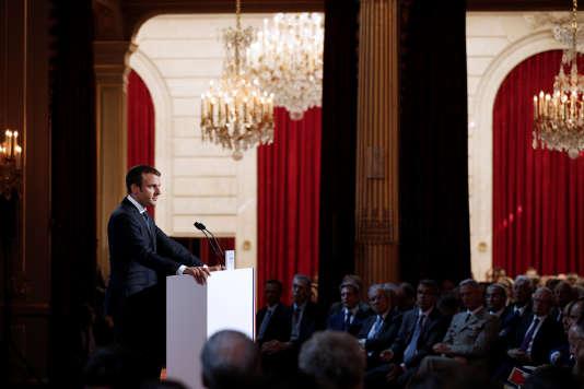 Emmanuel Macron lors de son discours aux ambassadeurs fixant les grands axes de la politique étrangère française, à l'Elysée, le 29août 2017.