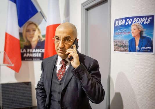 Jean Messiha dans un local du Front national à Lyon, le 2 février.
