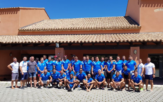L'équipe de France de rugby à XIII en stage au Barcarès (Pyrénées-Orientales), en juillet 2017.