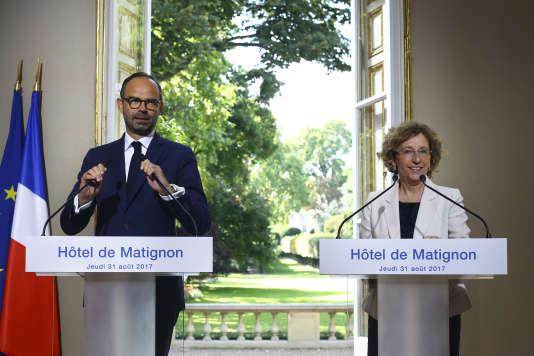 Edouard Philippe et Muriel Pénicaud lors de la présentation des ordonnances à la presse, jeudi 31 août.