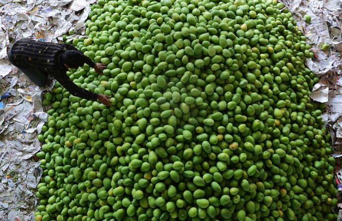 Le marché aux fruits deGaddiannaram, près d'Hyderabad, en avril 2016.