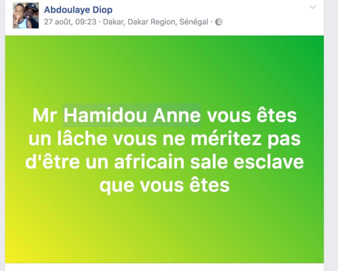 Capture d'écran d'insultes adressées à notre chroniqueur sénégalais Hamidou Anne après la publication de son texte sur Kémi Séba et les« afroclowns».
