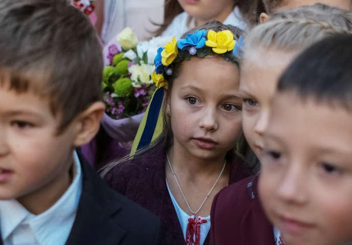 Lors d'une cérémonie à l'occasion de la rentrée scolaire, le 1er septembre à Kiev.