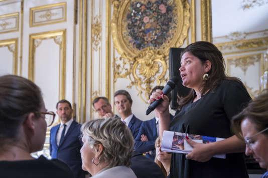 Raquel Garrido, porte-parole LFI et chroniqueuse sur C8, lors de la présentation des ordonnances réformant le code du travail, le 31 août.