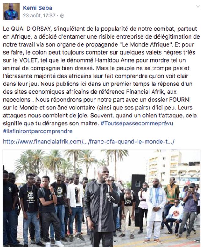 Deux jours avant son arrestation à Dakar, les attaques de Kémi Séba sur sa page Facebook contre Le Monde Afrique et notre chroniqueur sénégalais Hamidou Anne.
