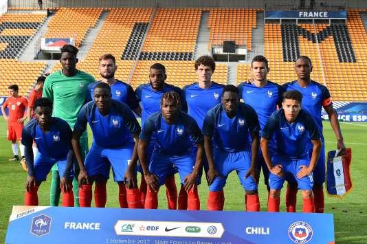 Les Bleuets avant le match face au Chili le 1er septembre.