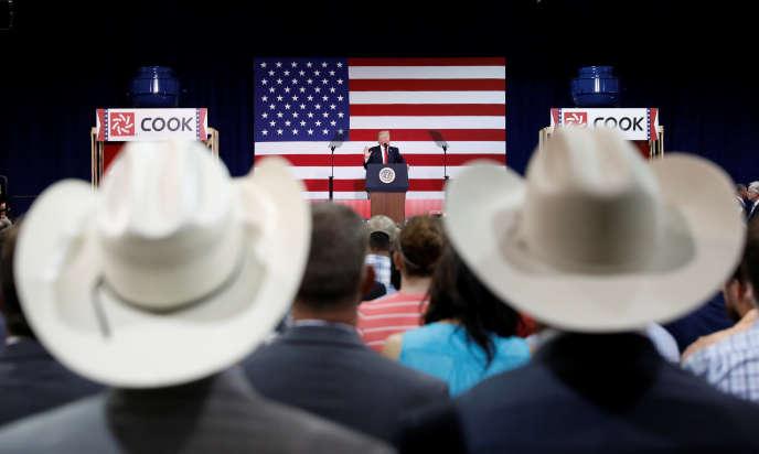 Le président américain Donald Trump en visite à Springfield, dans le Missouri, le 30 août.