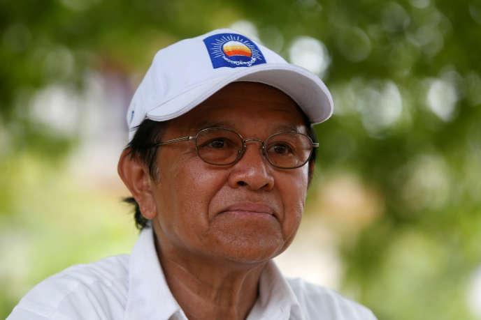 Le chef de l'oppositionKem Sokha le 28 mai 2017 durant une interview au Cambodge.
