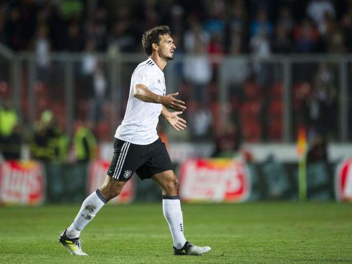 Le défenseur allemand Mats Hummels durant le match de qualification au Mondial 2018 contre la République tchèque, à Prague, le 1er septembre 2017.