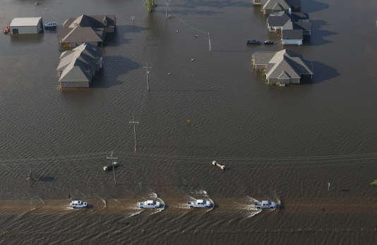 Vue aérienne de la ville d'Orange, au Texas, inondée après la tempête Harvey, le 31 août.