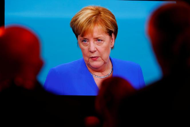 La chancelière allemande, Angela Merkel, lors du débat télévisé du 3 septembre dans le cadre de la campagne des législatives.