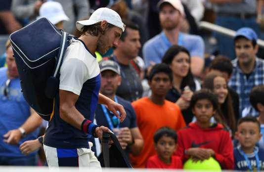 Lucas Pouille après sa défaite contre l'Argentin Diego Schwartzman lors de l'US Open, le 3septembre, à New York.