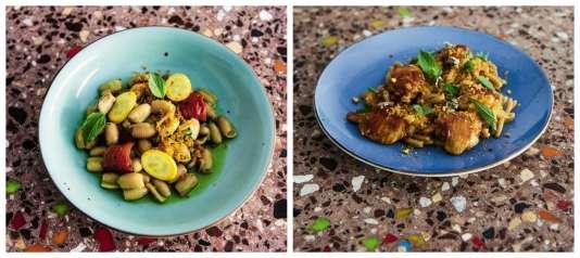 Coquillettes farine barbu du Roussillon avec jus de curry vert et basilic thaï ; casarecce à l'épeautre avec volaille laquée, harissa et citron confit.