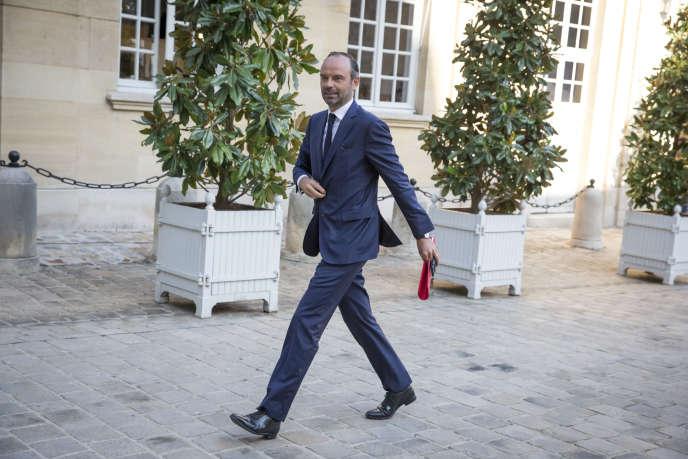 Edouard Philippe, premier ministre, présente le contenu des ordonnances sur la réforme du droit du travail aux organisations syndicales. A l'Hôtel Matignon, à Paris, le jeudi 31 août 2017.