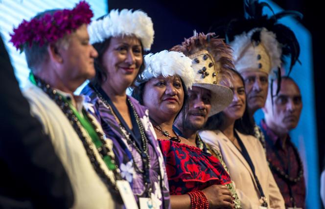 Les délégués de l'île de Pâques lors d'un congrès environnemental à La Serena, au Chili, le 4 septembre.