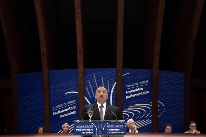 Le président azerbaïdjanais, Ilham Aliev, lors d'un discours devant l'Assemblée parlementaire du Conseil de l'Europe, à Strasbourg, le 24 juin 2014.