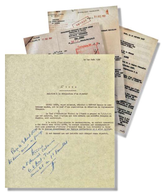 La « fiche relative à la désignation d'un objectif », annotée de la main de Jacques Foccart, qui commandite l'élimination de l'ingénieur allemand Wilhelm Schulz-Lesum. DR