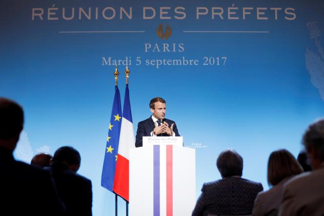 Emmanuel Macron, à l'Elysée, lors de son discours devant les préfets.