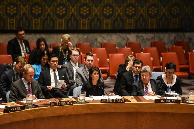 L'ambassadrice des Etats-Unis, Nikki Haley, lors du Conseil de sécurité des Nations unies réuni en urgence à New York, le 4 septembre.