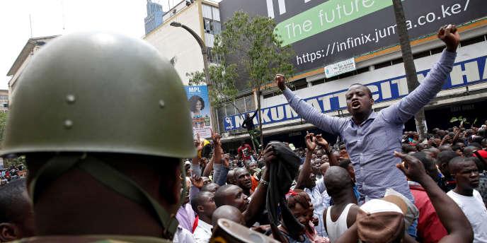 A Nairobi, après l'annonce, le 1er septembre, de l'invalidation du résultat de la présidentielle du 8 août qui donnait la victoire au président sortant, Uhuru Kenyatta.