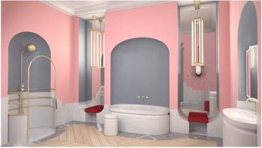 La salle de bains tout en rondeurs en marbre et métal doré à l'or fin est signée du couturier Alexis Mabille pour Jacob Delafon.
