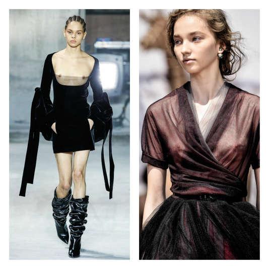Chez Saint Laurent (à gauche) ou chez Dior (à droite),les seins sont davantage suggérés qu'exhibés.