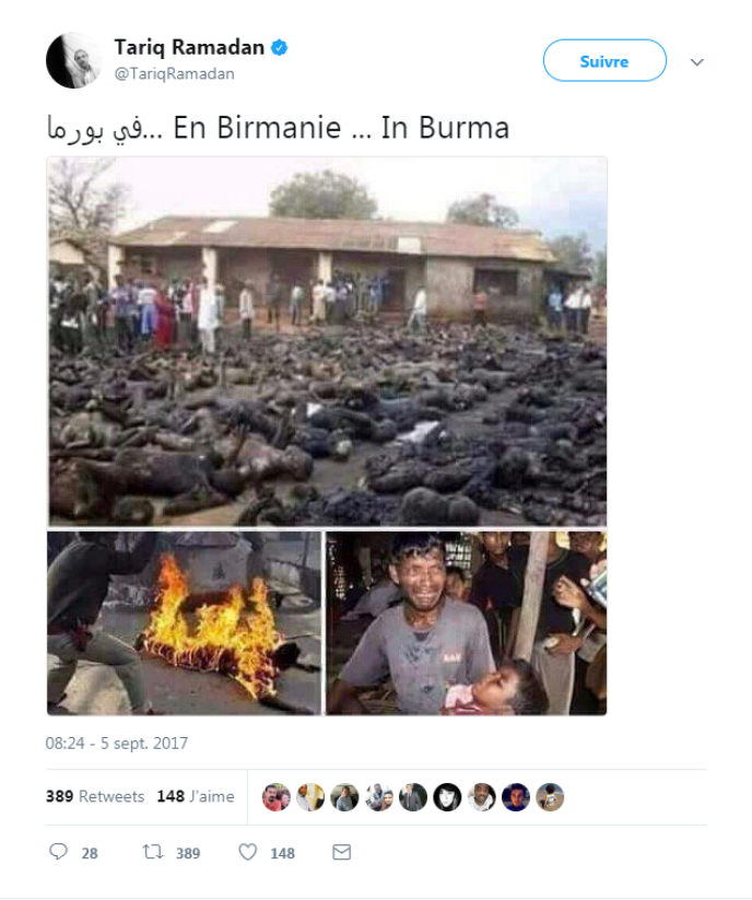 Capture d'écran du compte Twitter de Tariq Ramadan.