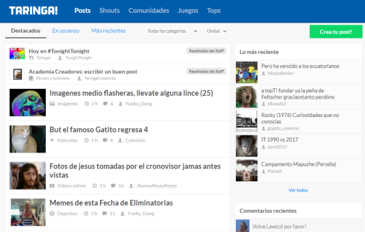 La page d'accueil de Taringa!.