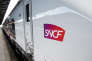 A photo taken on April 6, 2017 shows the SNCF logo on the new Coradia Liner train of SNCF Intercites and train-building giant Alstom presented at the Gare de l'Est railway station in Paris. / AFP PHOTO / ERIC PIERMONT