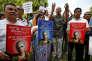 Rassemblement de journalistes et d'activistes pour défendre la liberté de la presse et saluer la mémoire de la journalisteGauri Lankesh, à Bengalore, le 6 septembre.