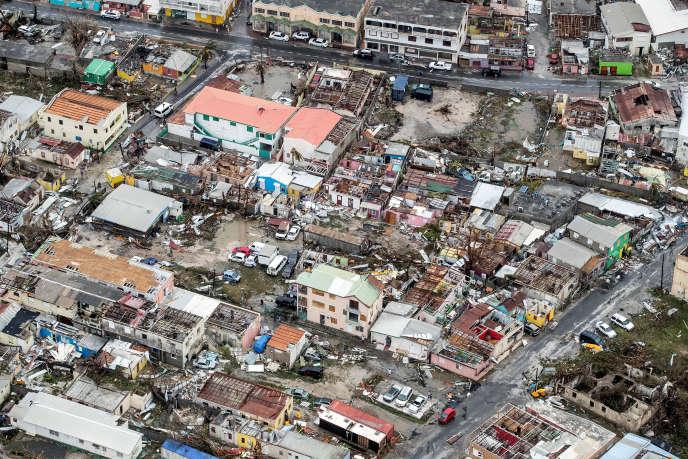 Après le passage de l'ouragan Irma, dans la partie néerlandaise de l'île Saint-Martin, le 6 septembre.