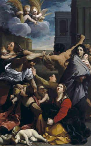 «Le tableau peint vers 1610-1612 assura la gloire de l'artiste et c'est en rivalité avec lui que Poussin peignit son propre tableau. L'admirable composition, inspirée par Raphaël, comporte plusieurs mères qui, chacune, exprime son espérance, sa souffrance et sa douleur. Le tableau n'a pas quitté l'Italie depuis l'époque napoléonienne.»
