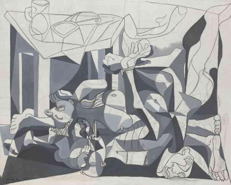 """«Pablo Picasso peint """"Le Charnier"""" lors de la période de la Libération. Cette grande toile en grisaille, écho à Guernica, est peut-être tirée des photographies des camps de concentration et rappelle les massacres de la Guerre d'Espagne.»"""