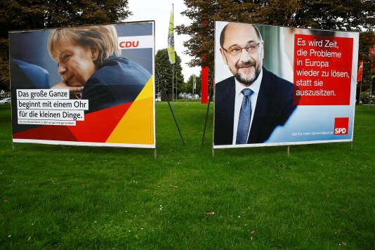 Les affiches électorales d'Angela Merkel (CDU) et de Martin Schulz (SPD), à Bonn, en Allemagne, le 7 septembre.