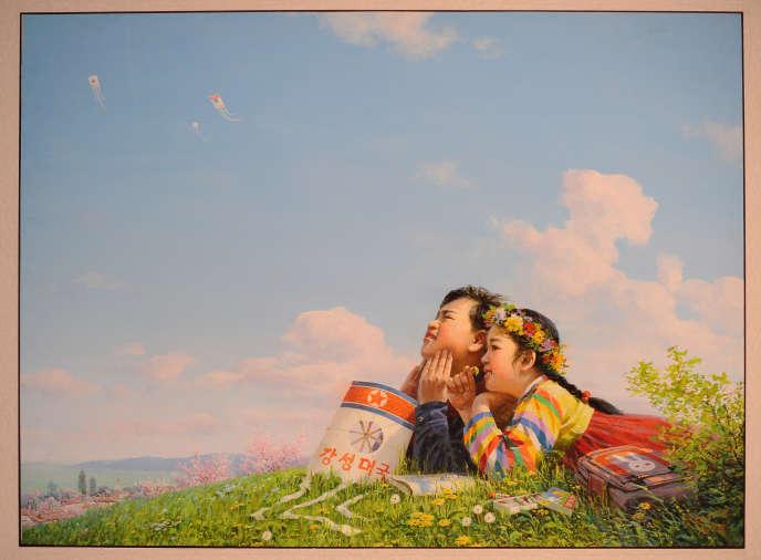 « Ciel bleu » (2005). Tableau du peintre nord-coréen Ri Sok Nam exposé en Europe en 2010, à l'occasion d'une exposition, organisée à Vienne, intitulée « Les fleurs de Kim Il-sung ».